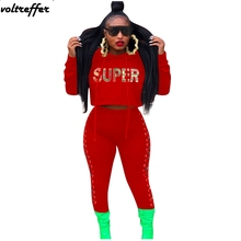 Letter Printed Crop Top Hoodies Ribbons Lace Up Side Bodycon Long Pants Suits Sexy Casual Outfits Strappy Bodysuit Two Piece Set apricot lace up slit side two piece outfits