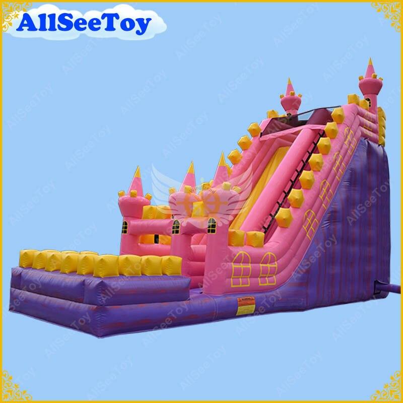 Glissière d'eau gonflable pourpre de marbre d'enfants avec la piscine, château sautant matériel de bâche de PVC