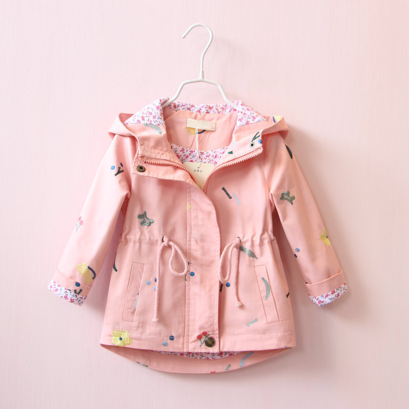 DreamShining Embroidery Flower Kids Jacket Girls Clothes Hooded Children Clothing Spring Autumn Windbreaker Girl Outwear & Coats spring autumn kids motorcycle leather jacket black boys moto jackets clothes children outwear for boy clothing coats costume page 2