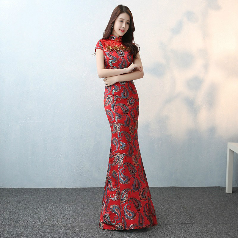 Long Chinese Traditional Dress Fishtail Red Bride Wedding Qipao ...