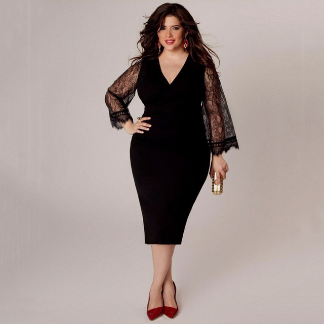 9b160ad3e 2017 verão as mulheres se vestem tamanho grande v pescoço Fino preto 6XL  vestido de renda