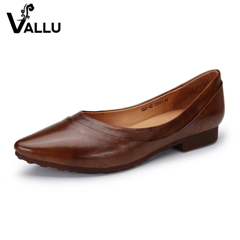 2018 VALLU Original Natural Leather Women Flats Pointed Toes Slip On Loafers Handmdade Soft Comfortable Ladies Flat Shoes vallu spring summer women flats genuine leather pointed toes handmade original shoes basic women ballerina slip on flat shoes