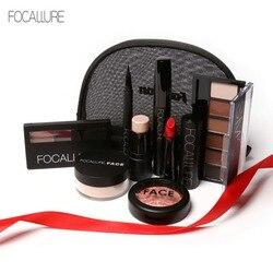 FOCALLURE Makeup Set Eyeshadow Palette Eyeliner Matte Lipstick Highlighter With pincel maquiagem Bag Make Up Cosmetics Kit 8pcs