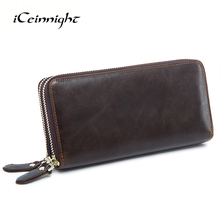 iCeinnight Business Double Zipper Men Clutch Bags Genuine Leather Wallet Men High Quality Wallets Male Big Capacity Long Purses