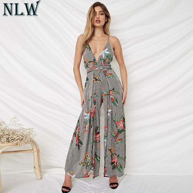 d2222ec226a NLW Black White Striped Jumpsuit V Neck Floral Sexy Romper 2018 Women  Summer Backless Cross Strap
