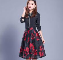 2017 spring and summer women's new A word pleated yarn print skirt