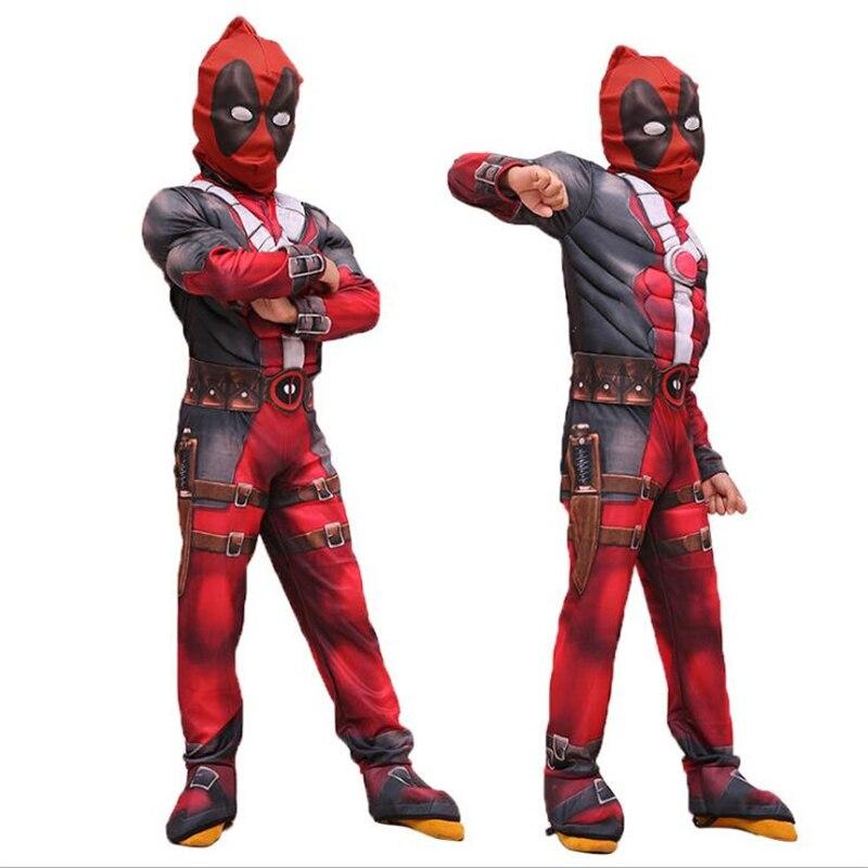 Superhero Deadpool Muscle Man Carnival Avenger Cosplay Costumes Halloween For Kids Girls Boys Children Jumpsuits Mask Onesie Red