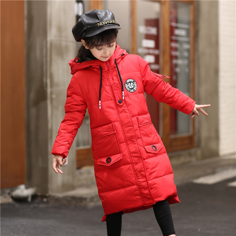 2018 New Girl winter warm coat kids girls down jackets girls parkas winter outerwear long jackets casacos de inverno 130-160 цены онлайн