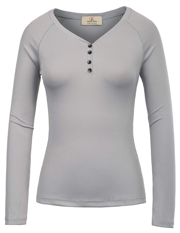 Grazia Karin Delle Donne di Base Casual Manica Lunga Con Scollo A V Termico Henley T Shirt-in Magliette da Abbigliamento da donna su  Gruppo 1
