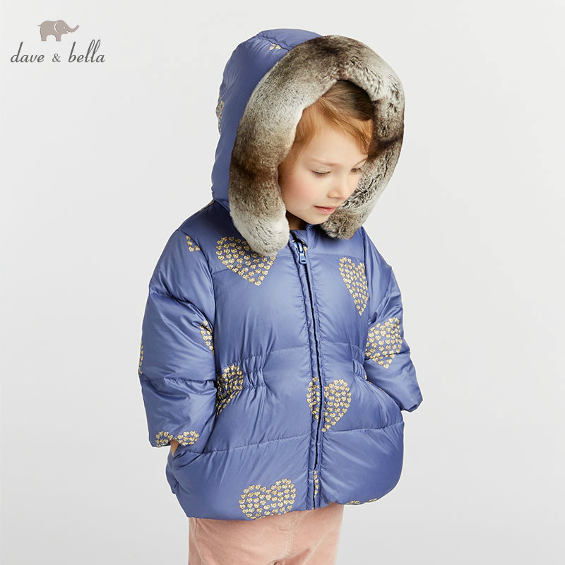 DBA7932 dave bella girls down jacket baby winter hearts print lolita down coat children hooded outerwear kids boutique coat|Down & Parkas| |  - title=