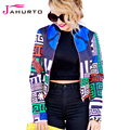 Jahurto Floral Printed Women Coat Autumn European Style New Style Baseball Bomber Ladies Jackets Uniform Outerwear Clothes