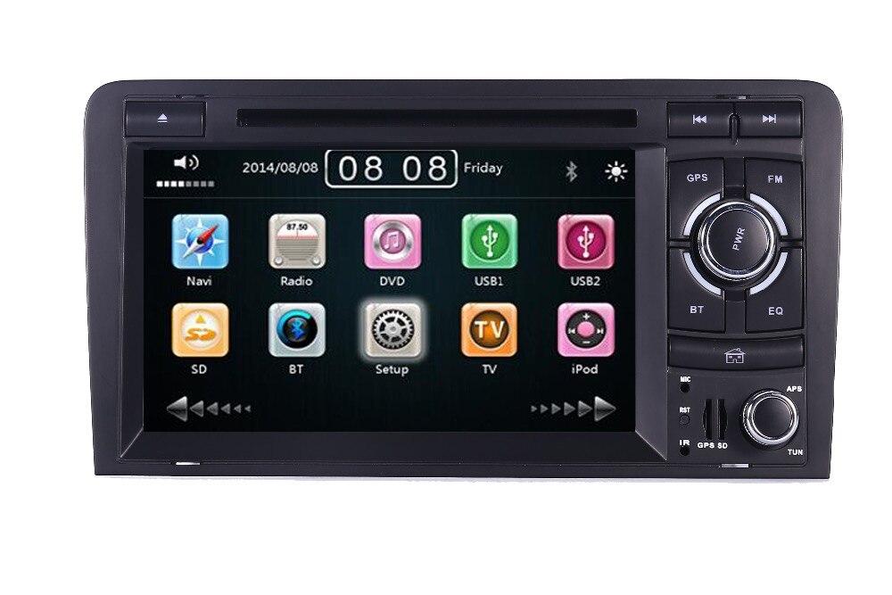 2DIN Voiture DVD GPS Pour Audi A3 S3 2002-2011 Radio GPS Bluetooth 1080 p 3g USB Hôte commande au Volant Canbus Livraison 8 gb GPS Carte