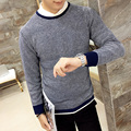 M-XXL 2016 stylish men fall slim fit round collar knitting a sweater/Men Set head High quality knit shirt