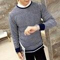 M-XXL 2016 stylish men queda slim fit gola redonda tricô um suéter/Conjunto cabeça Dos Homens de Alta qualidade camisa de malha