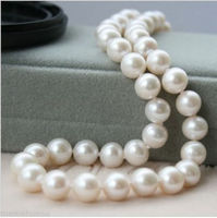 Free Shipping Pretty 9 10mm White Saltwater Cultured Pearl Necklace 18 6 09