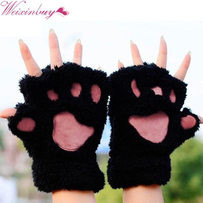 WEIXINBUY Women Cute Bear Cat Paw Fluffy Gloves Winter Warm Plush Half Finger Cosy Gloves Gift