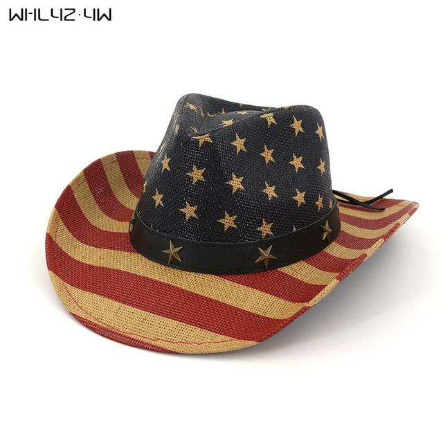 WHLYZ YW Vintage Western Cowboy Hat For Men Women Summer Straw Hats  national flag Cowgirl Jazz Cap Wide Brim Sun Caps Sombrero b722e3906a1