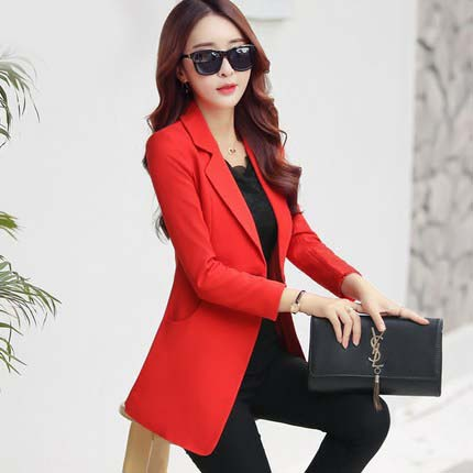 Small suit female Spring and Autumn new Korean fashion Slim thin long-sleeved suit big yards long section of solid color jacket
