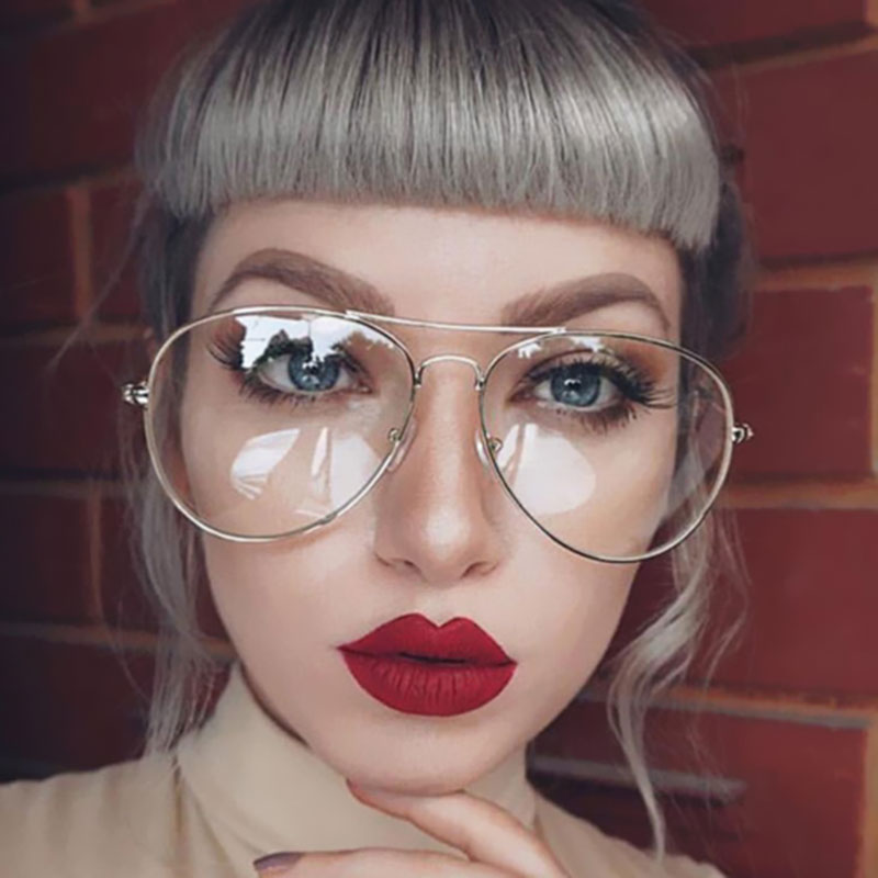 Pilot Vintage Round Glasses Men Women Metal Frame With Clear Lens Transparent Eyewear Retro Female Optics Eyeglasses