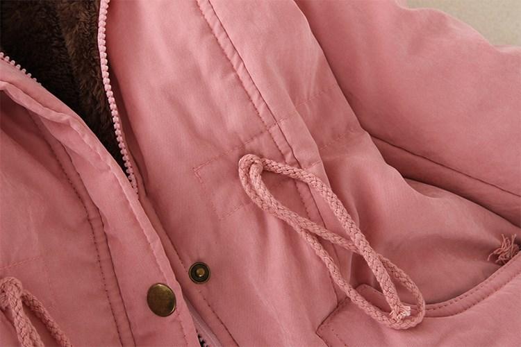 19 Winter New Women's Hooded Fur Collar Waist And Velvet Thick Warm Long Cotton Coat Jacket Coat 23