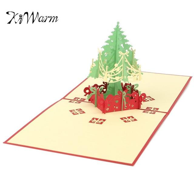 Kiwarm Novelty 3d Merry Christmas Tree Greeting Cards Birthday Party