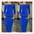Fashion Club Clothing 2017 Summer Sexy Women Dress Dresses Slash neck Off the Shoulder Hip Slim Solid Color Sexy Casual Dress