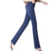 2017Cashmere Winter Autumn Women Long Straight Jeans Pants Female Warm Cotton Loose High Waist Outerwear High