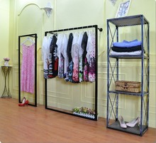 Clothing display rack clothing store shelf floor wall hanging simple and stylish wall window side pylons