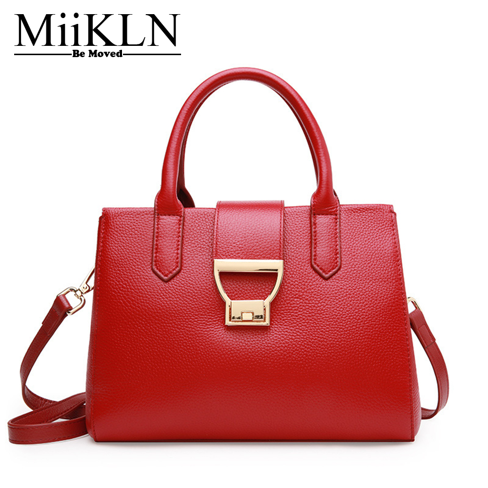 MiiKLN Cow Leather Women Handbag Casual Tote Genuine Leather Bags Red Black Female Crossbody Zipper Solid Woman Shoulder Bag miikln yellow blue black red fashion women bags pu leather big size large ladies handbags crossbody solid zipper new 2017 design