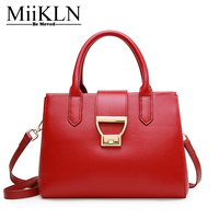 MiiKLN Cow Leather Women Handbag Casual Tote Genuine Leather Bags Red Black Female Crossbody Zipper Solid