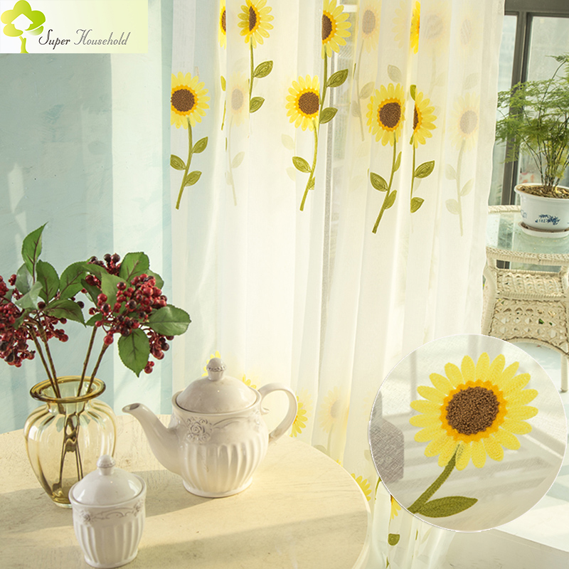 2017 New Sunflower Curtains For Living Room Tulle Window Screening Embroidered Sheer Bedroom Chinese