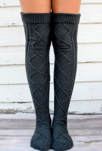 Women Soft Winter Cable Knitted Knee High Stockover Knee Long Boot