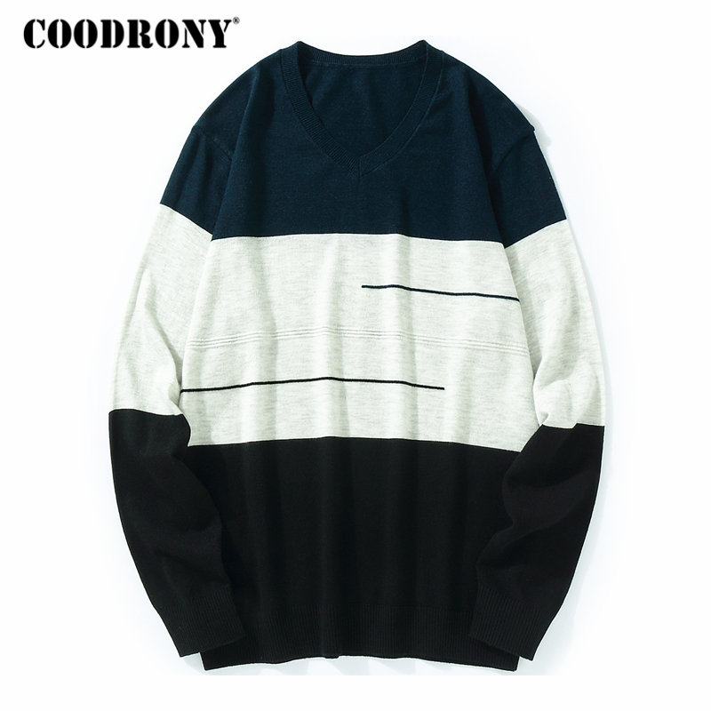 COODRONY Sweater Men Cashmere V-Neck Knitted Wool Autumn Striped Winter Casual Warm Soft