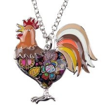 Bonsny Statement Maxi Alloy Enamel Chicken Rooster Choker Necklace Chain Pendant Collar 2017 Fashion New Enamel Jewelry Women