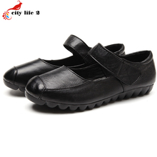 Leather Leisure Shoes Buckle Strap Soft Bottom Slip Shoes Flat With Casual Mother Shoes font b