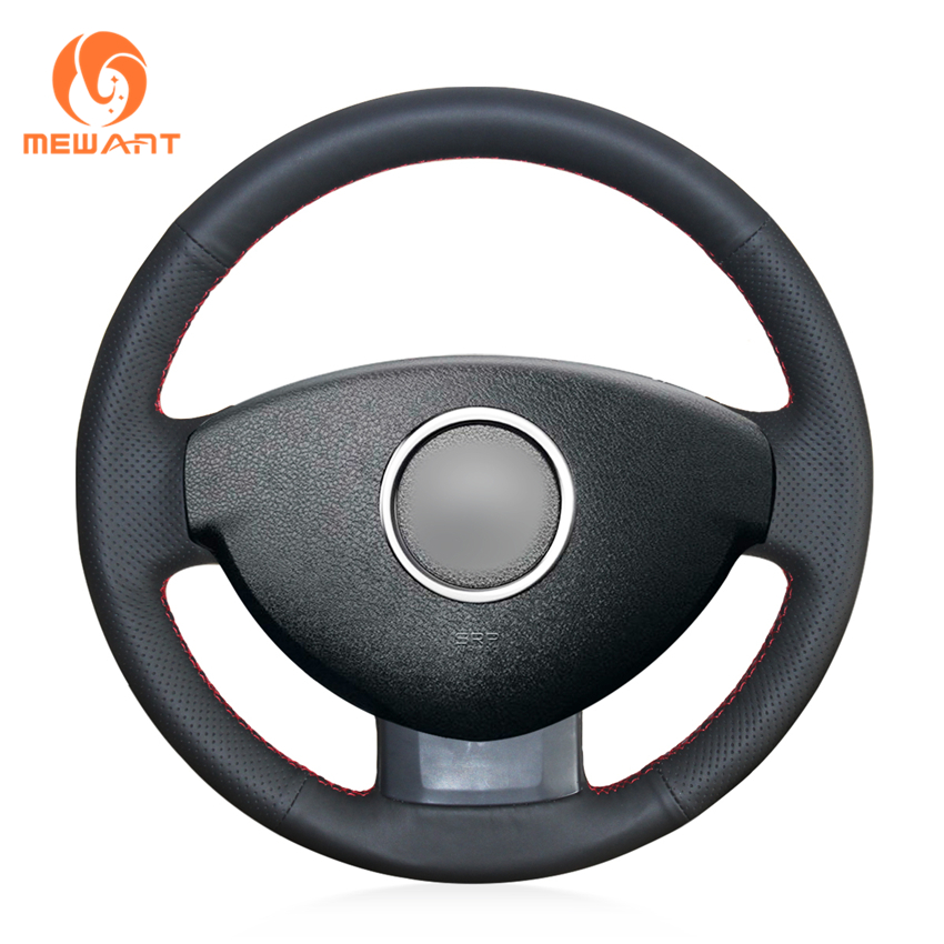 MEWANT Black Genuine Leather Car Steering Wheel Cover for Renault Duster Dacia Duster 2011-2015