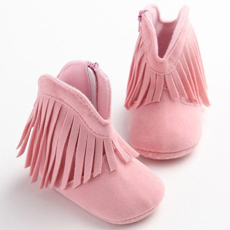 Toddler Girls Warm Tassels Baby Shoes Newborns First Walker Fashion Snow Boots