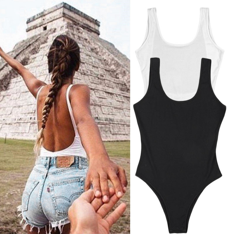 Summer Sexy Deep V Neck Bodysuit Casual Panelled Backless Sleeveless Bodycon Jumpsuit Top Elegant Ladies Body Femme Body Suit