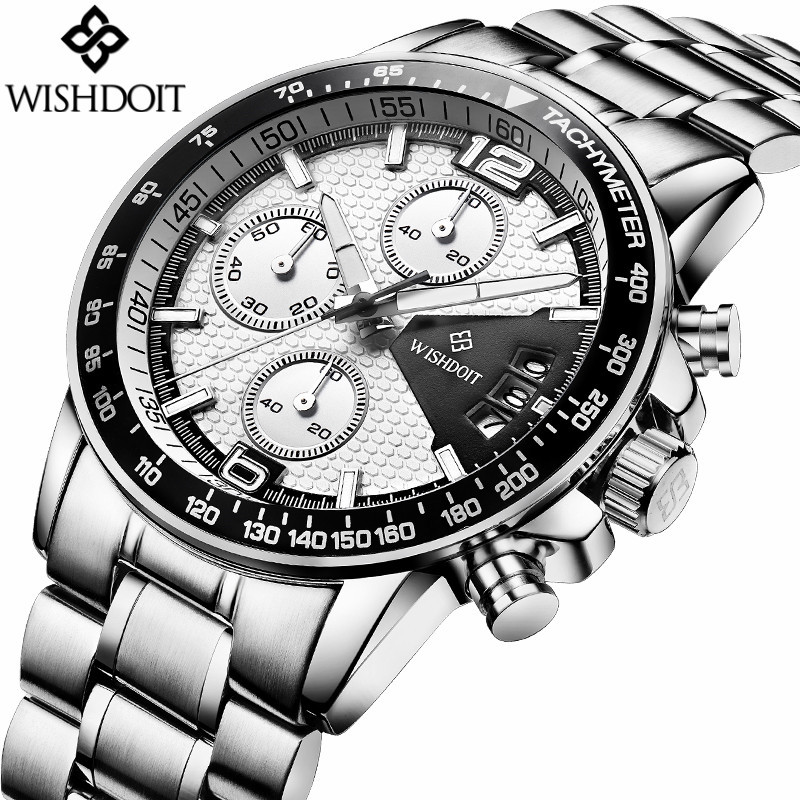 Mens Watches Top Brand Luxury WISHDOIT Chronograph Luminous Quartz Watch Men Business Men Stainless Steel Waterproof Wristwatch wishdoit watch men top brand luxury watches simple business style fashion quartz wrist watch mens stainless steel watch relogio