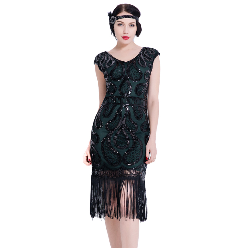 cb97c712 ... Women Flapper Dress V Neck Fringe Sequined 1920s Vintage Gatsby Dress  Roaring 20s Tassel Art Deco ...