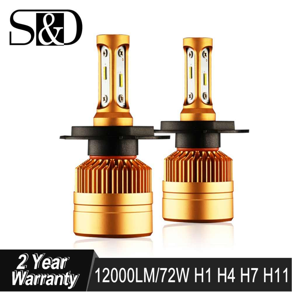 S&D Car Headlight H4 H7 LED H8 H11 HB3 9005 HB4 9006 H1 H3 H27 880 881 Auto Bulbs with 1515 Chips 12000lm Light Lamp 6000K 12V