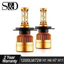 S&D Car Headlight H4 H7 LED H8 H11 HB3 9005 HB4 9006 H1 H3 H27 880 881 Auto Bulbs with 1515 Chips 12000lm Light Lamp 6000K 12V