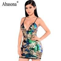 Abasona Womens Sequin Dress Sexy V Neck Backless Women Dresses Sundress Luxury Party Club Wear Bodycon