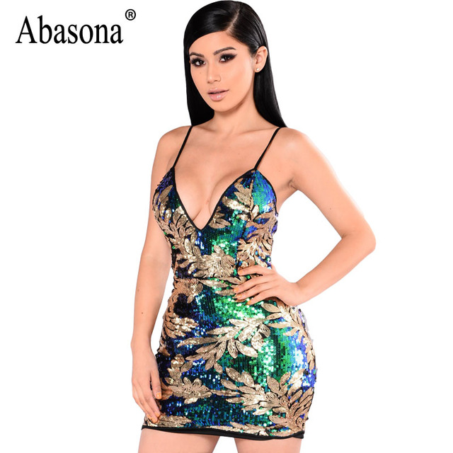 a48812f33e Abasona Womens Sequin Dress Sexy V-Neck Backless Women Dresses Sundress  Luxury Party Club Wear Bodycon Mini Sequined Dress