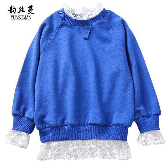 0f2c3277e Girls Sweatshirts for 7 8 9 10 11 12 13 14 Years White Lace Blue Coat Long  Sleeve Cotton Sweatshirts Kids Autumn Clothing 8M14A