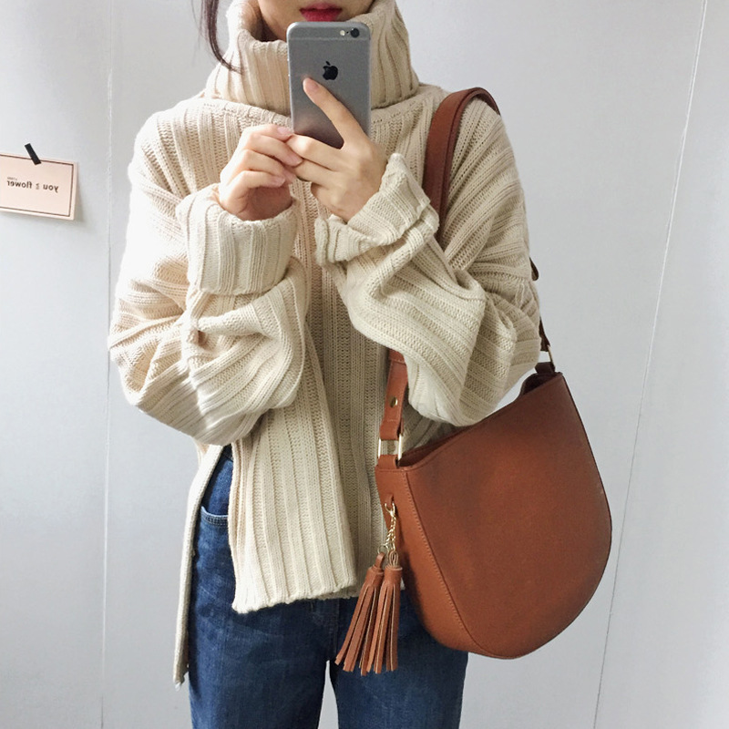 LANMREM 2019 Autumn And Winter New Casual Fashion Women Loose Solid Color Striped Split High Collar Pullover Sweater TC342