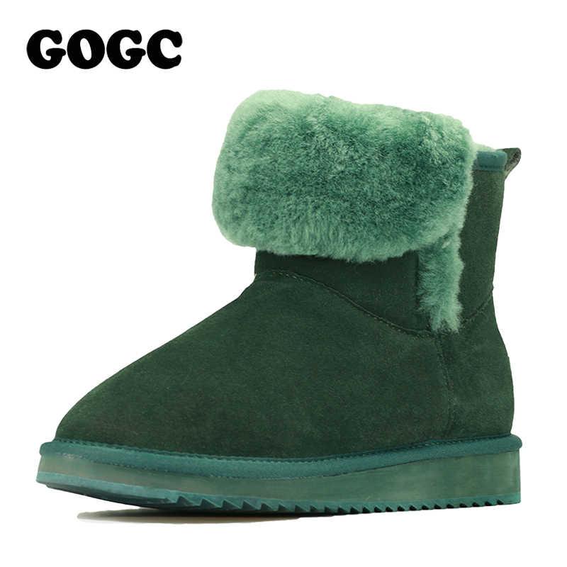 GOGC 2018 tilki kürk yarım çizmeler kadın kış çizmeler hakiki deri kadın kış ayakkabı nefes kadın ayakkabı 9725