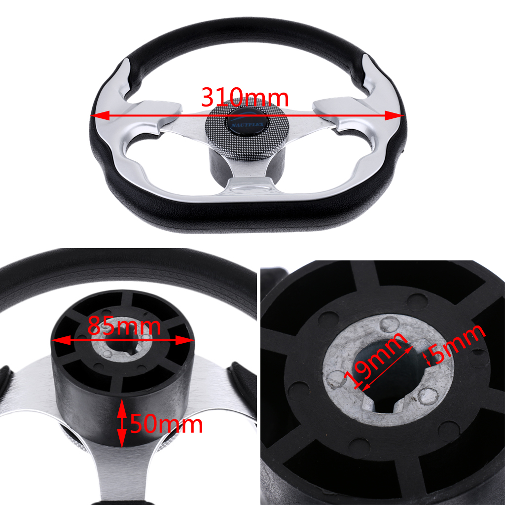 Image 3 - 310mm D Shape Marine Boat Steering Wheel Non directional Aluminum Alloy 3/4' Key Way Tapered for Boatting-in Marine Hardware from Automobiles & Motorcycles