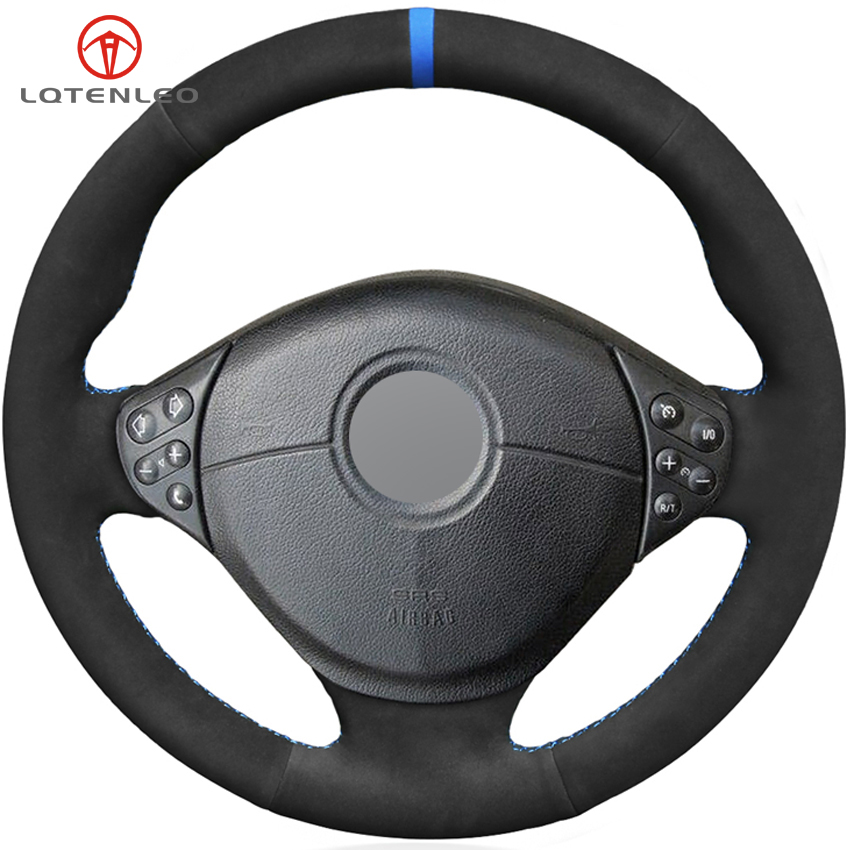 LQTENLEO Black Suede DIY Car Steering Wheel Cover For BMW E39 5 Series 1999 2003 E46