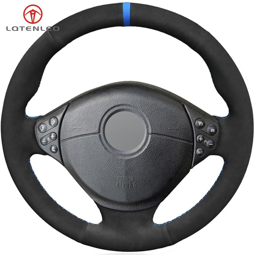 LQTENLEO Black Suede DIY Car Steering Wheel Cover For BMW E39 5 Series 1999 2003 E46